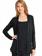 CALVIN KLEIN New Basic Modal with Satin Lounge-Set Shirt mit Cardigan, 2in1