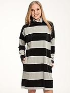 NANSO Velour Stripe Kurzes Nicki-Loungekleid für Damen