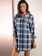 NINA VON C. Midnight Blues Boyfriend-Shirt aus Leichtflanell