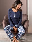 NINA VON C. Midnight Blues Mix Pyjama mit Webhose