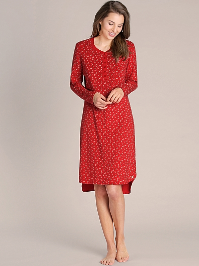 seidensticker incredible red nachthemd langarm mit knopfleiste rot online shop. Black Bedroom Furniture Sets. Home Design Ideas