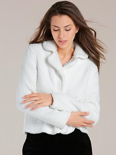 taubert arctic kuschelige jacke aus lamb fleece l nge 55cm wei online shop. Black Bedroom Furniture Sets. Home Design Ideas