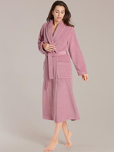 taubert sauna bademantel mit schalkragen l nge 130cm rosa online shop. Black Bedroom Furniture Sets. Home Design Ideas